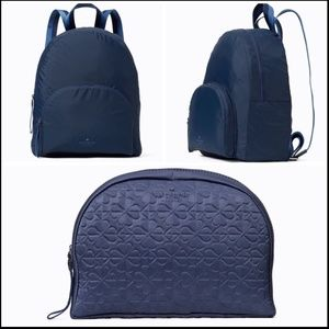 Kate Spade Blue Nylon Travel Packable Backpack NWT